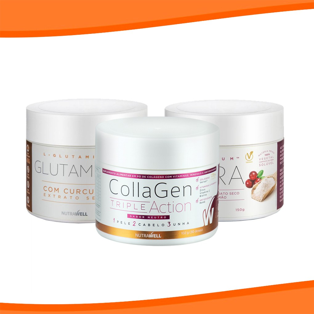 Combo Glutamina + Collagen + Fibra - Nutrawell