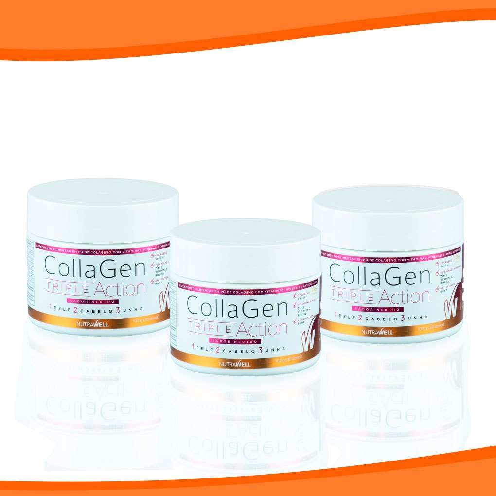 Combo 3 Colágenos Collagen Triple Action - NUTRAWELL