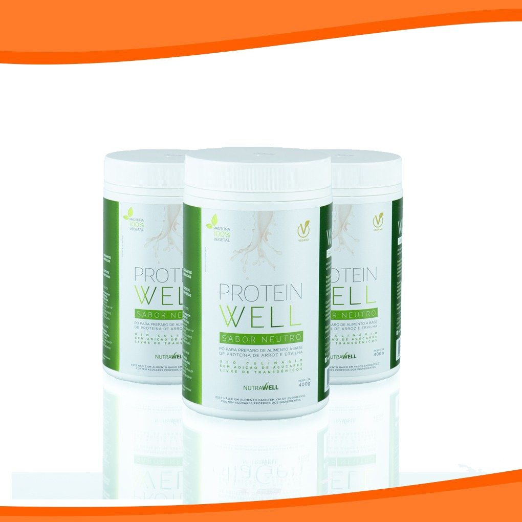 Combo 3 Proteína Neutra - Protein Well 400G - NUTRAWELL