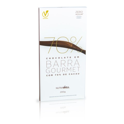 Barra de Chocolate Gourmet 70% Cacau 200g - Nutrawell